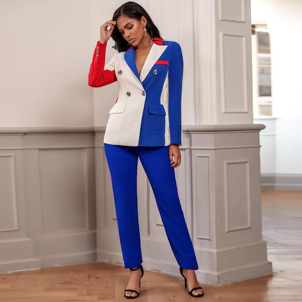 Ocstrade verão 2020 nova moda sexy set correspondência duas peças mulheres azul blazer de manga comprida e calças set club 2 pedaço roupas T200622