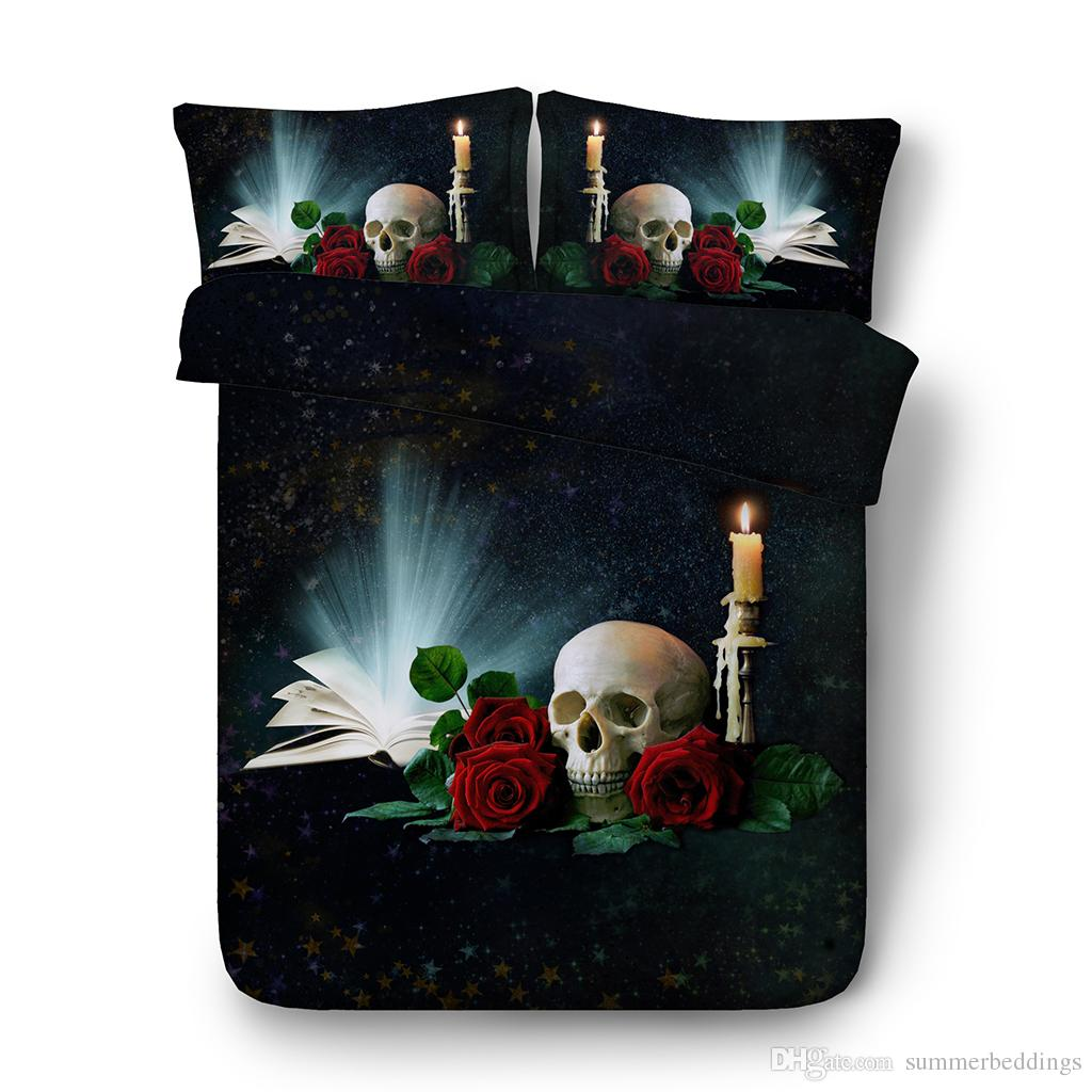 Sugar Skull Duvet Cover Bright Roses Skull Floral Bedding 3 Piece Evil Mexican Sugar Skeleton With Kitsch Bush Of Roses Candles