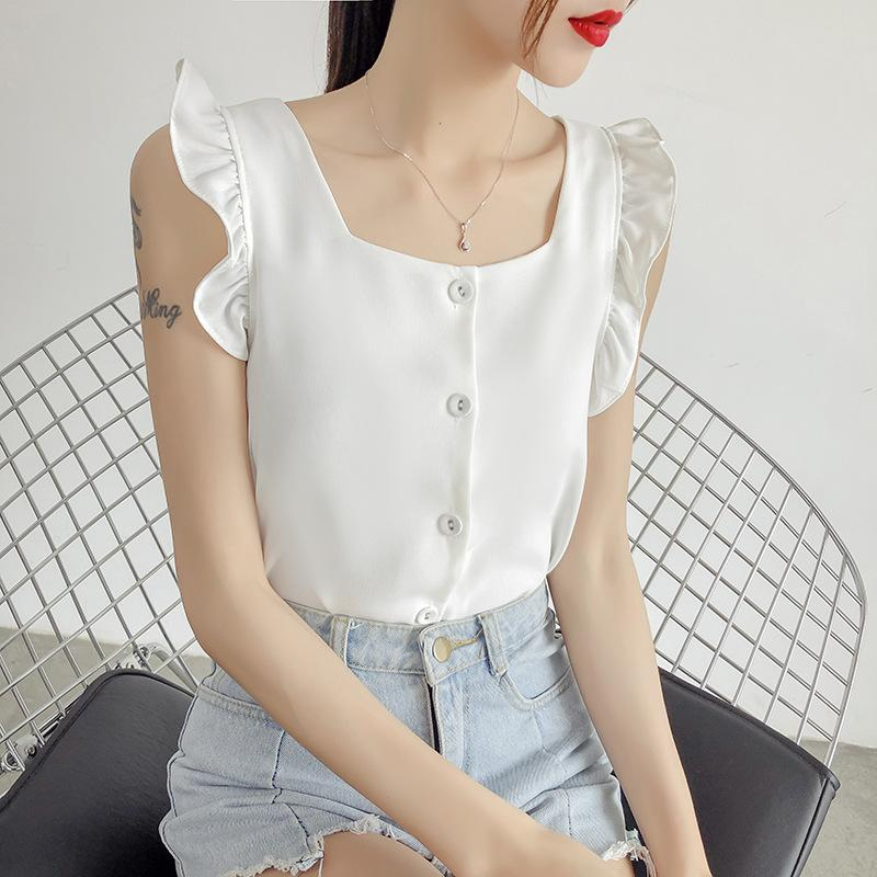 Chic Single-row Button Sleeveless Muffler Side vest Female Summer 2019 New Korean Square Collar Chiffon Shirt