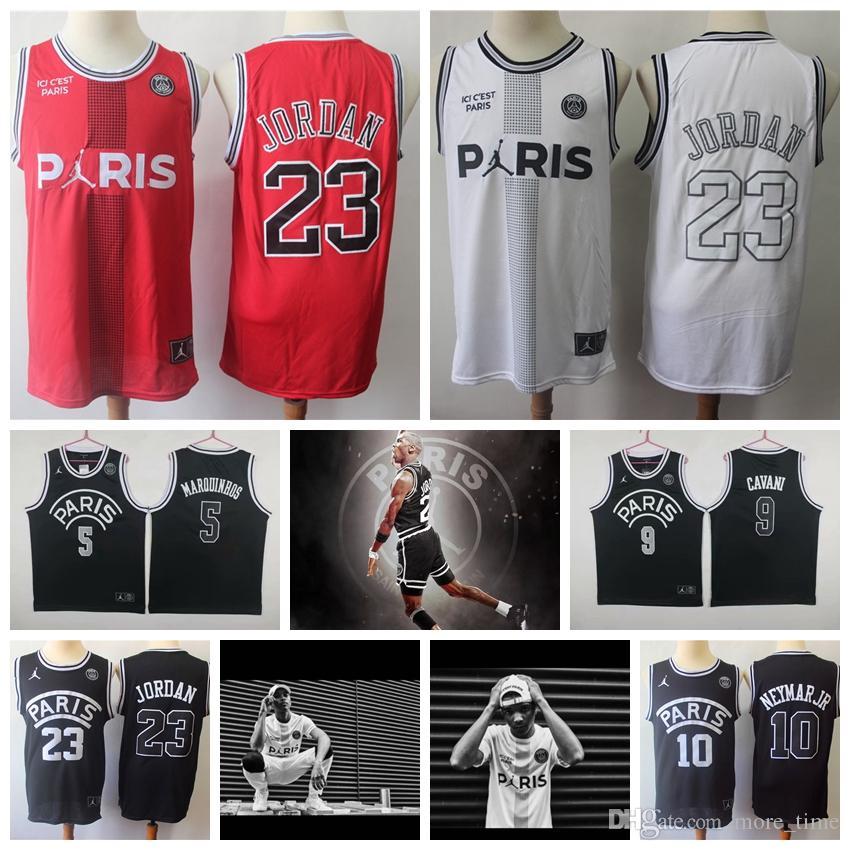 so cheap best sale online store 2019 New Men PSG Paris Basketball Jerseys 23 MichaelJordan 10 NEYMAY JR 7  MBAPPE 9 Cavani 5 Masrouinhos Paris Basketball Shirts Paris Shorts From ...