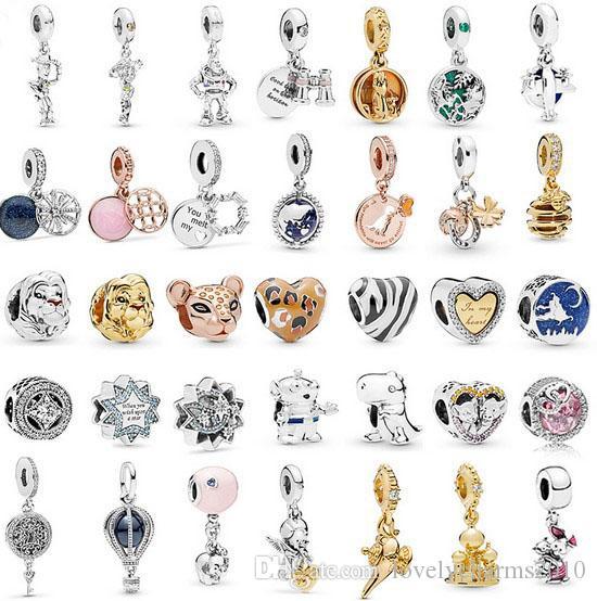 Convient aux bracelets Pandora 50pc Lion Quatre feuilles Charms en argent Charmes d'argent Perles Perles Perles de charme pour gros bricolage Collier Sterling Européen Bijoux