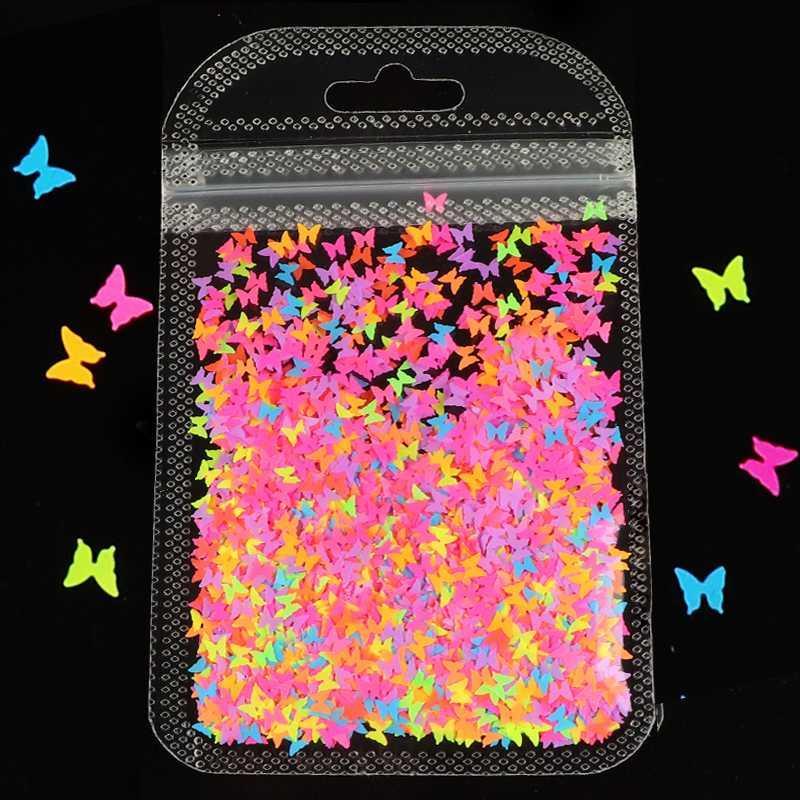 Decoração de unhas verão borboleta Fluorescência Forma Nail Art Glitter Coração Flakes Neon Pigment Sequins 3D polonês Manicure DIY
