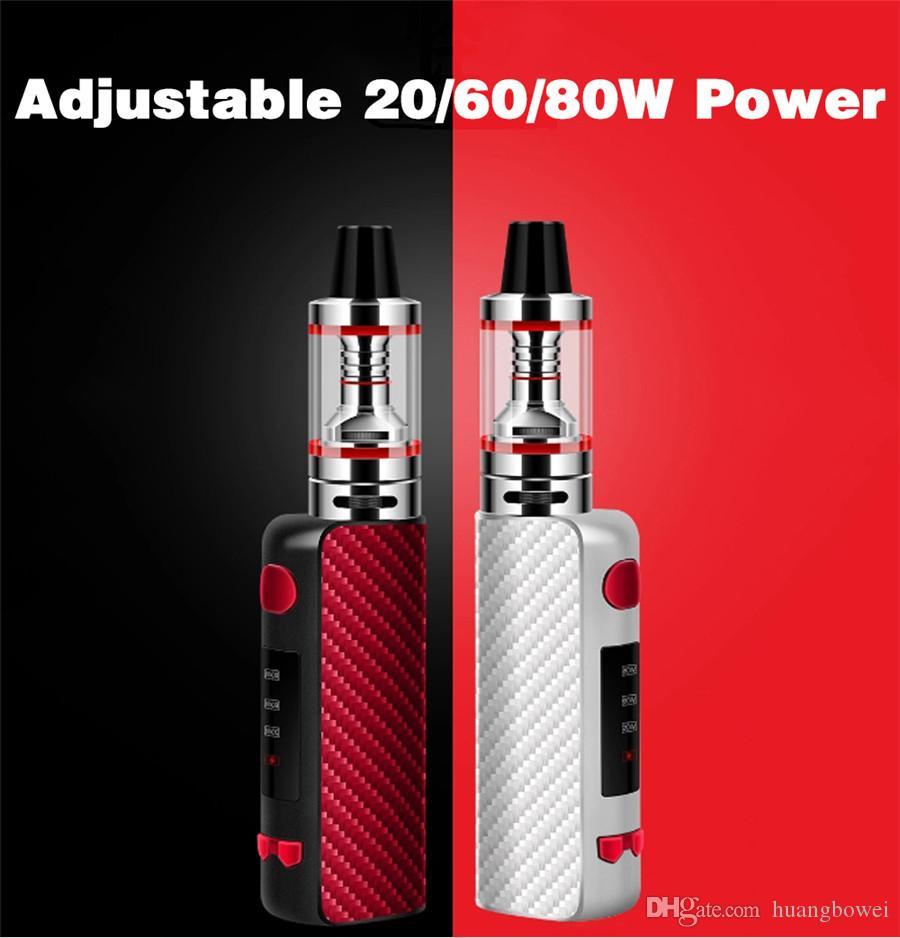 Free Shipping Electronic Cigarette Mini 80W Adjustable vape mod box kit 1600mah 0.25ohm battery 3ml tank e-cigarette Big smoke atomizer