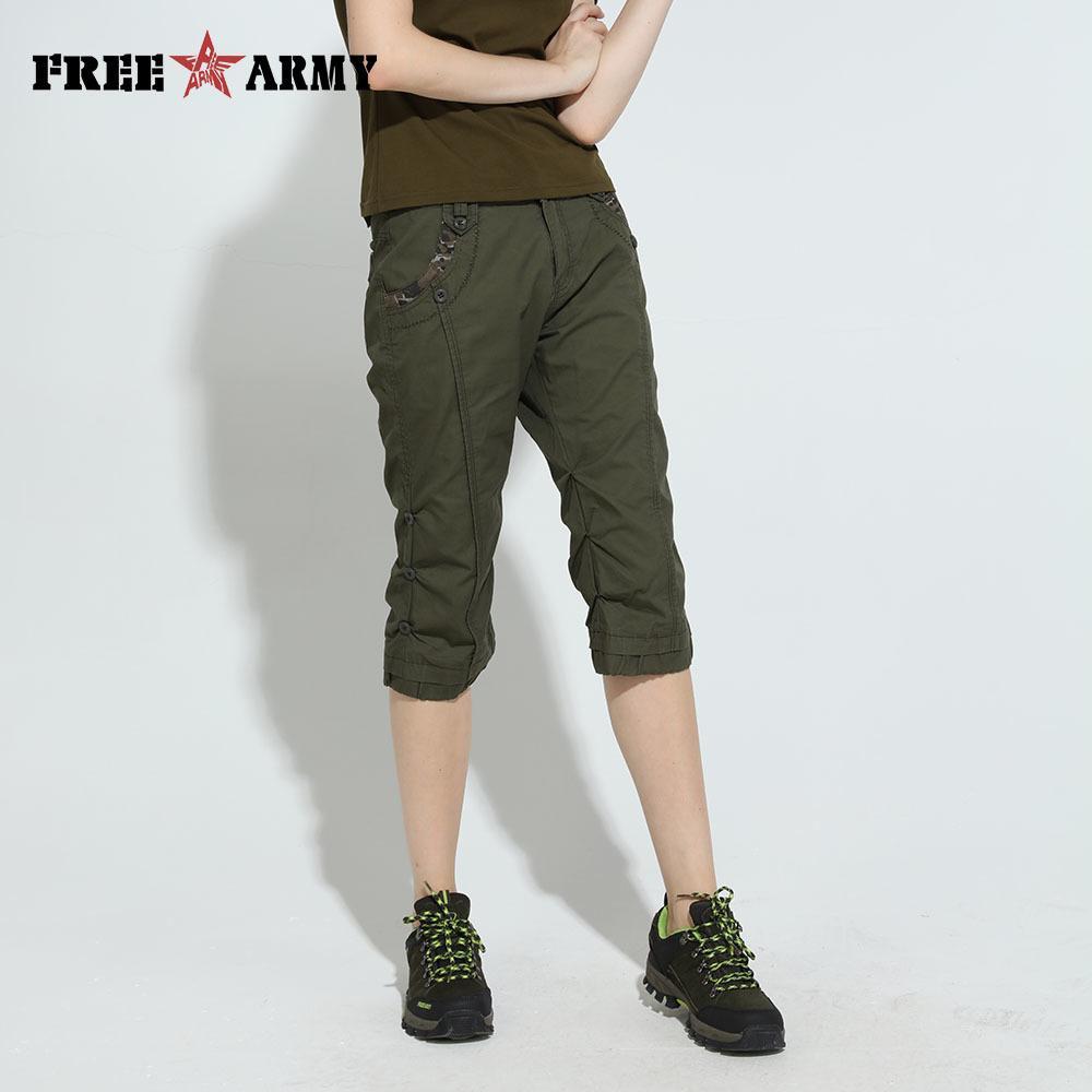 Armée des femmes demi-pantalon vert coupe slim au genou pantalon décontracté coton motif maigre pantalon designer pantalon Wgk-12093a Y19071701