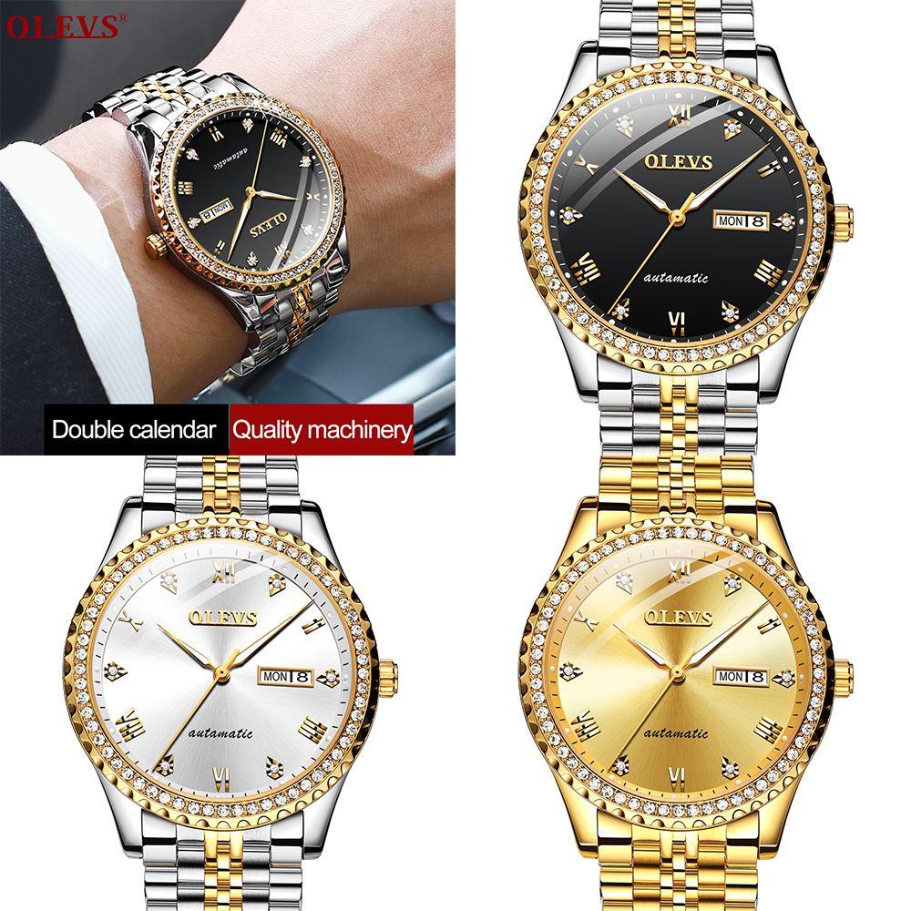 OLEVS Men Luxury Mechanical Movement Watches Calendar Display Luminous Analogue Wristwatches Butterfly Double Buckle Waterproof Watch Gift