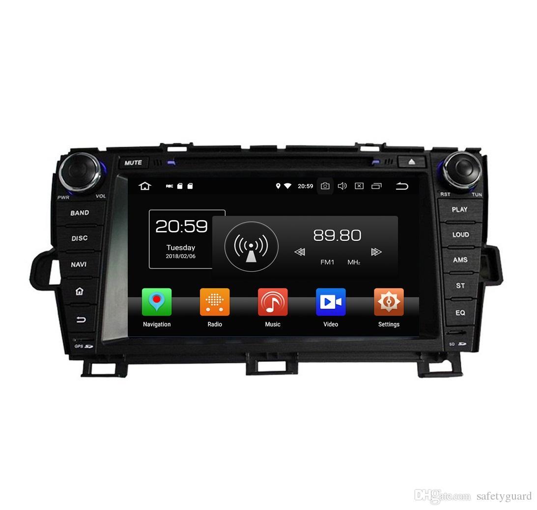 도요타 프리우스 용 2009 2010 2011 2012 2013 안드로이드 8.0 Octa 코어 자동차 DVD 플레이어 라디오 GPS 블루투스 와이파이 USB 미러 링크 4GB RAM 32GB ROM