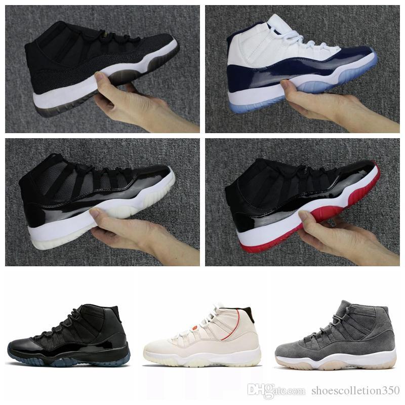 Nike Air Jordan Original AJ AJ11 Homens 11 s Sapatos de Basquete Jam True Azul Platinum Matiz Ginásio Vermelho Raça Barons Concord 45 Sneaker Vestido de baile midNight formadores