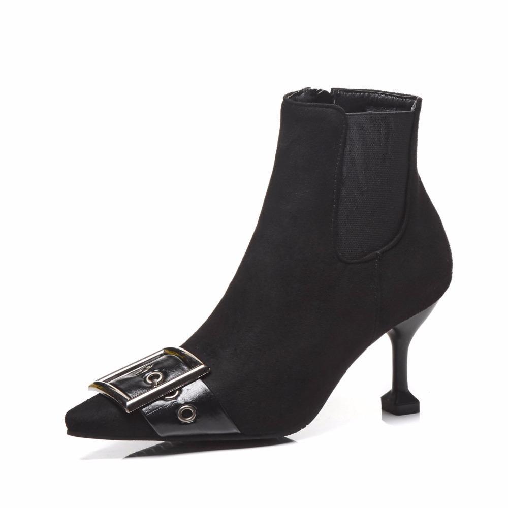 Heißer Verkaufs-Ledergürtelschnalle Ankle-Boot Frauen spitze Zehe hohe Absätze Martin Stiefel 42 43 plus Größe Herbst Winter Booties s361