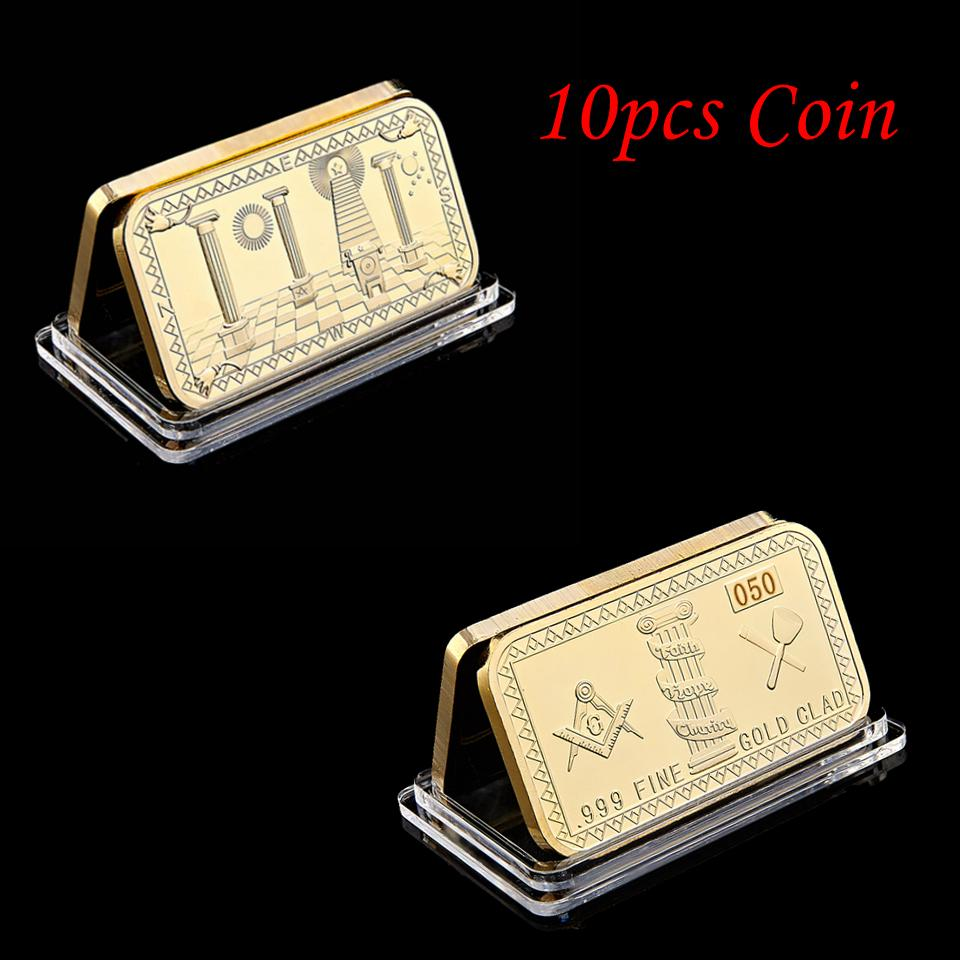 10pcs lot Non magnetic Freemasons Masonic Challenge Coin Golden Bar 999 Fine Gold Plated Clad 3D Design With Case Cover