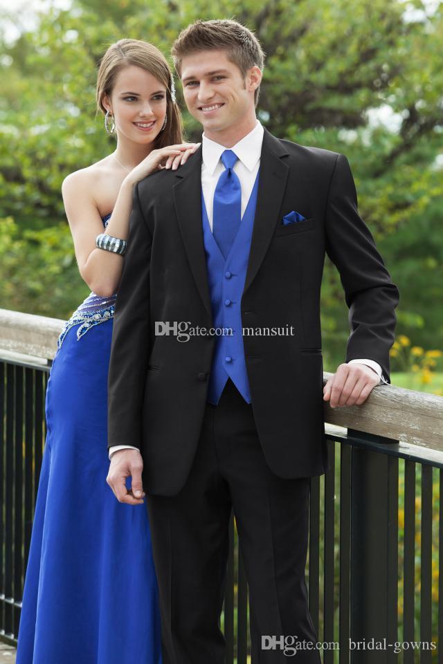 Moda Groomsmen Notch lapela do noivo Smoking Black Men ternos de casamento / Prom melhor homem Blazer / Noivo (jaqueta + calça + Vest + Tie) M596