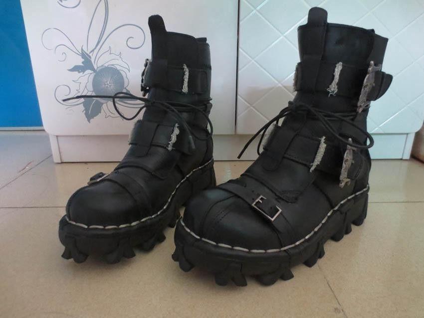 Handmade Cowhilde Genuine Leather Boots Men High Help Motorcycle Biker Booots Men Skull Winter Autumn Botas Men Combat Military boots Male
