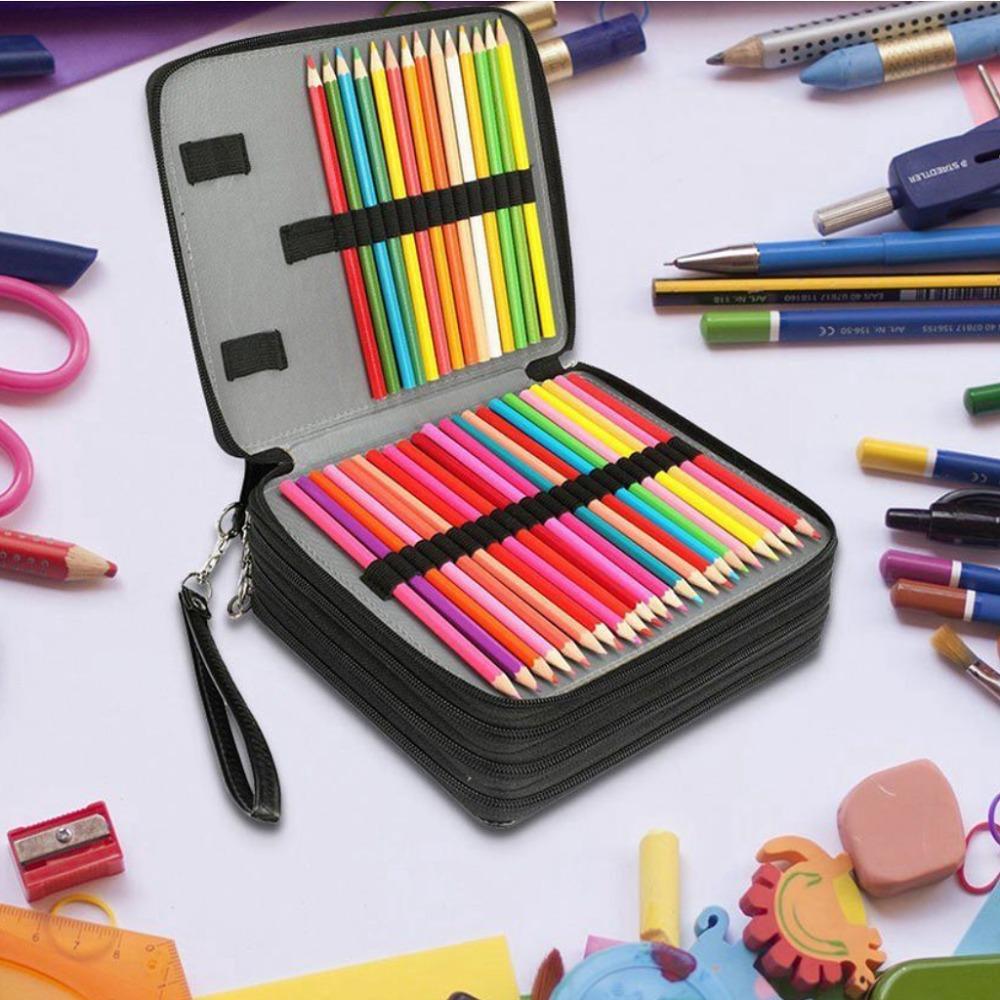 Las ranuras 168 de gran capacidad Pintura Lápices pluma de la caja bolsa con cremallera Correa para lápices de la acuarela, lápices de colores de casos