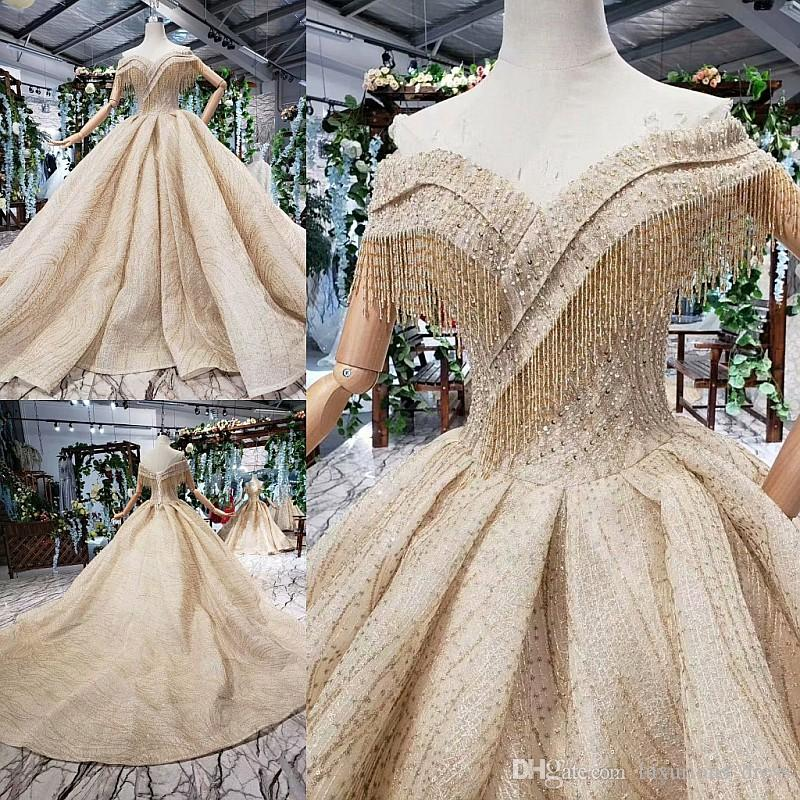 Sparkle Gold Lace luxury Crystal/Beading ball gown wedding dresses Sexy Off-shoulder Vintage Bridal Gowns princess Cathedral wedding Gowns