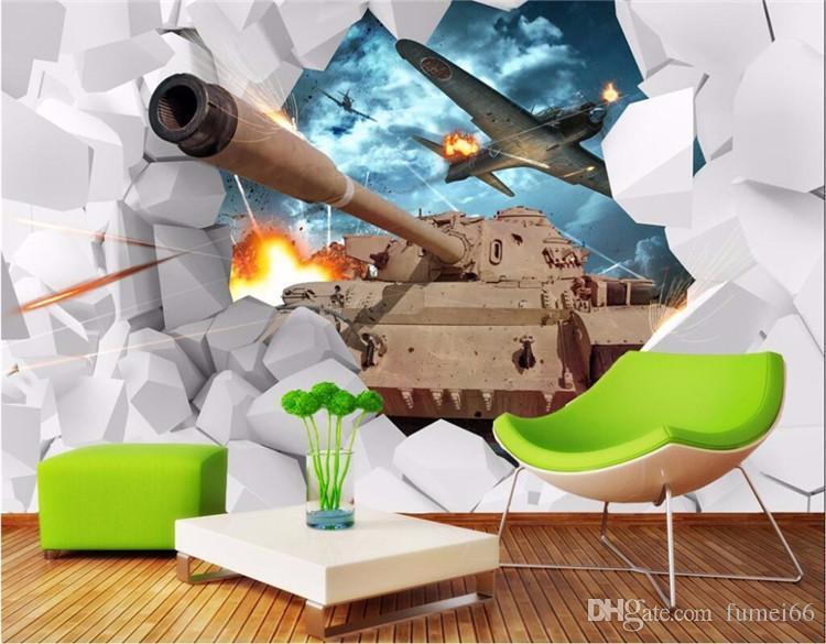 Carta da parati su ordinazione murale 3D stereoscopico Serbatoi Wall Paper militare a tema carta da parati creative personalità Aircraft contesto Photo