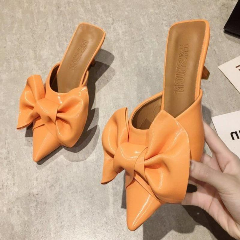Salto mulas florais Chinelos Mulheres rasa Sapato de bico fino salto alto Moda preguiçosos Outsides Mulher Slides por Mulheres