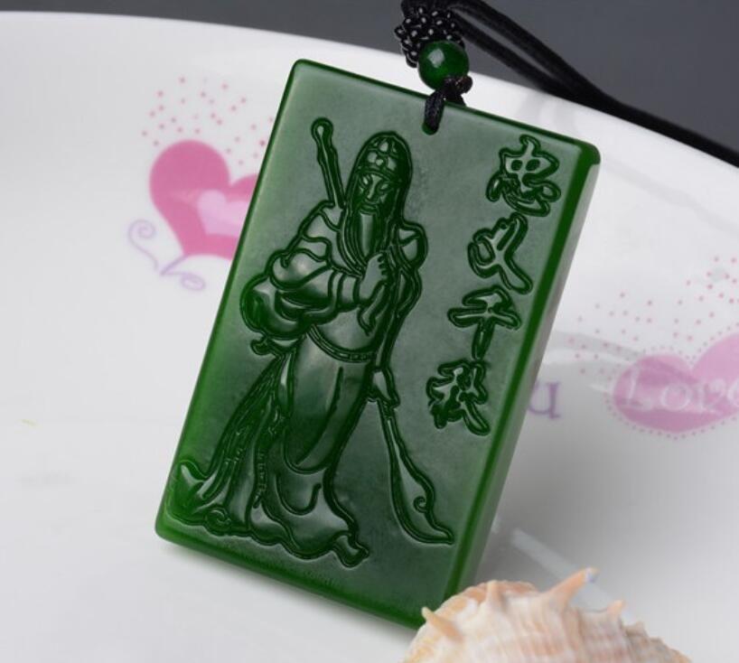 Xinjiang Hotan Yuguan Yun Changwu Dios de la Riqueza colgante de jade