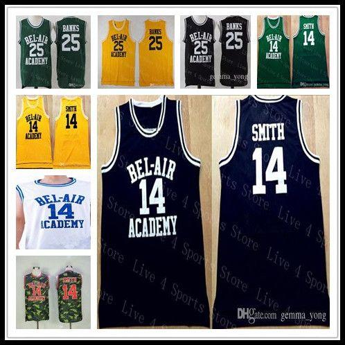 저렴 한 남자 신선한 프린스 벨 - 에어 영화 수 놓은 농구 14 스미스 25 칼튼 은행 모든 스티치 유니폼 고품질 수 놓은 셔츠
