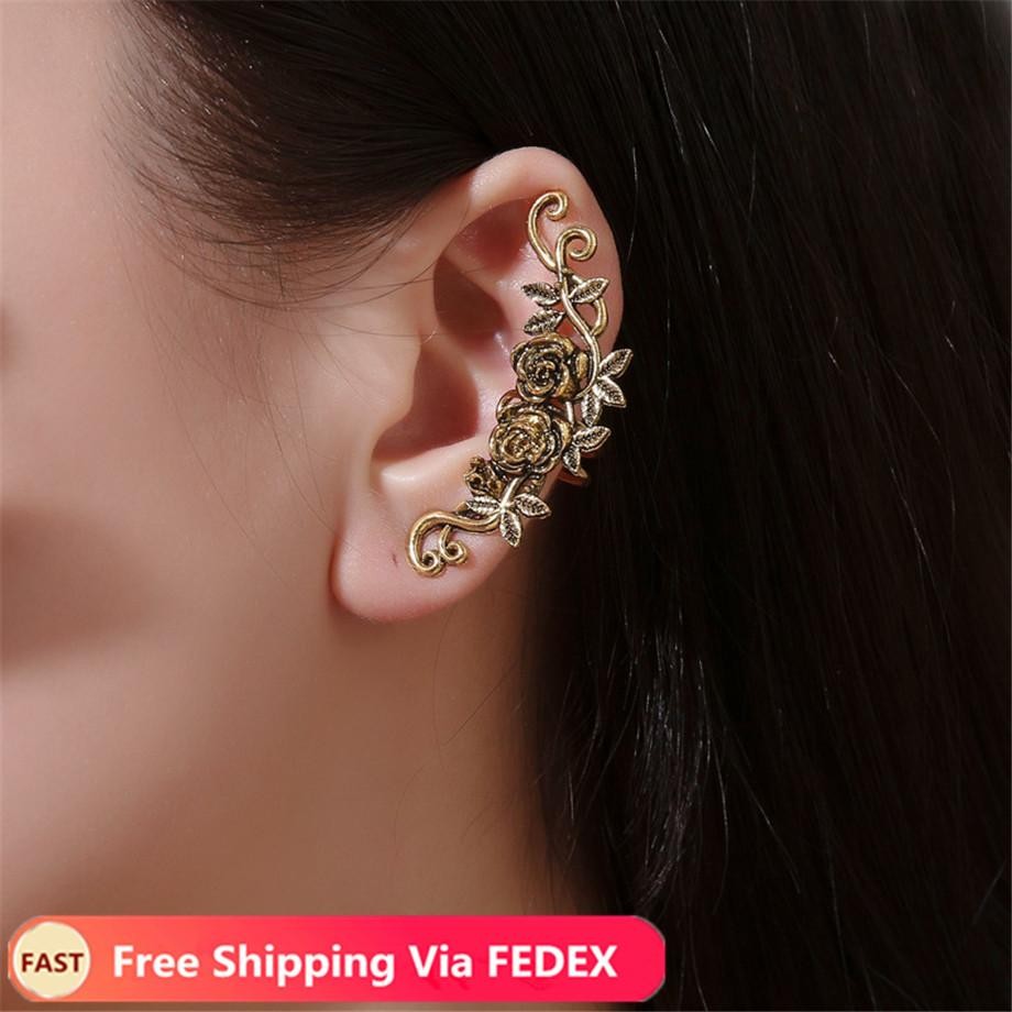 Simple Flower Ear Cuff Rose Gold Earrings For Women Crystal Ear Clip Female Clip Earrings Without Piercing Oorbellen Pend Airbrushing Body Art Art And Tattoos From Zhengyouchen 0 7 Dhgate Com