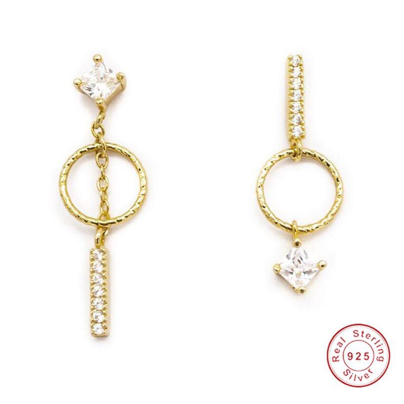 El yapımı Moda Takı Asimetri Küpe 925 Ayar Silvergold Dolgu Prenses Beyaz Topaz CZ Elmas Kadın Dangle Bırak Küpe Hediye
