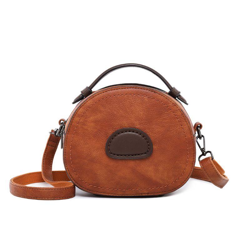 Women Ladies Round Shoulder Bag Genuine Leather Tote Purse Messenger Satchel Han