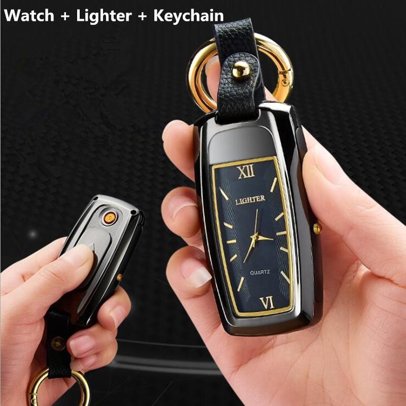Yeni İzle çakmak Anahtarlık çakmak Küçük sigara elektronik çakmaklar rüzgar geçirmez şarj çakmak çok fonksiyonlu USB feneri