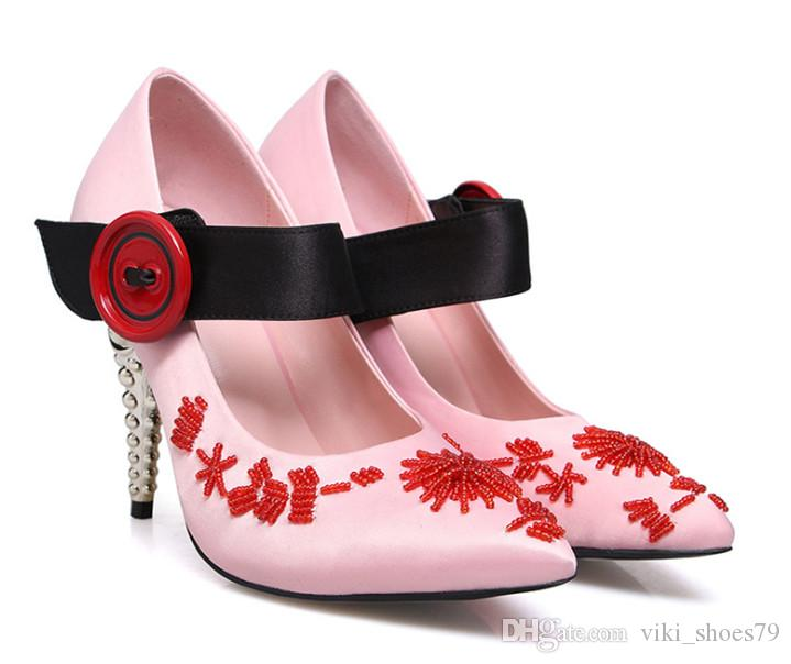 Neueste Spring Königin des Mädchens Sweety Traum Pumpen Frau Metall Fersengurt reizvolle Abend-Partei-Hochzeit Kleid-Schuhe Neue 2019 T anzeigen High Heel-Schuhe