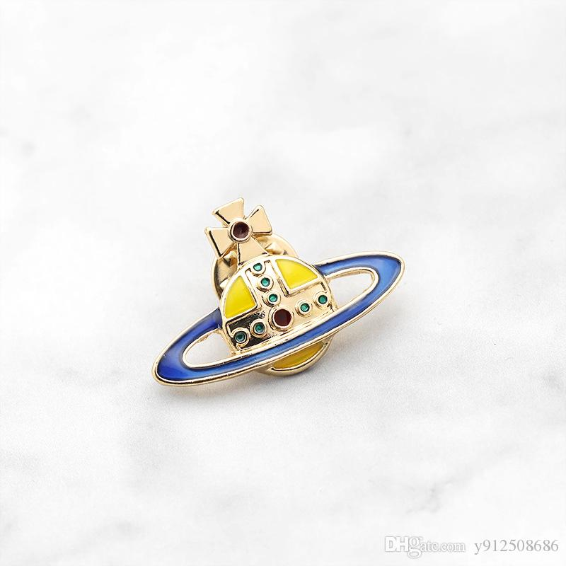 Krone gelb blau Gold Emaille Persönlichkeit kreative Brosche Cartoon spezielle Gezeiten Denim neue Aufschläge Abzeichen Pins
