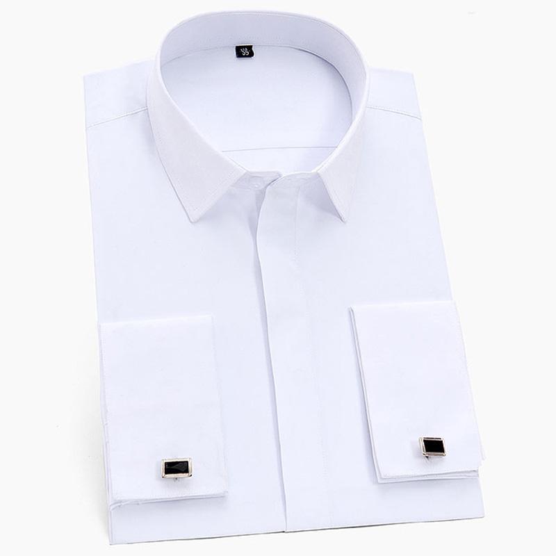 جديد وصول رجال الفرنسية صفعة اللباس قمصان كم طويل العمل الاجتماعي الأعمال غير الحديد الرجال الرسمي الصلبة قميص أبيض مع أزرار أكمام