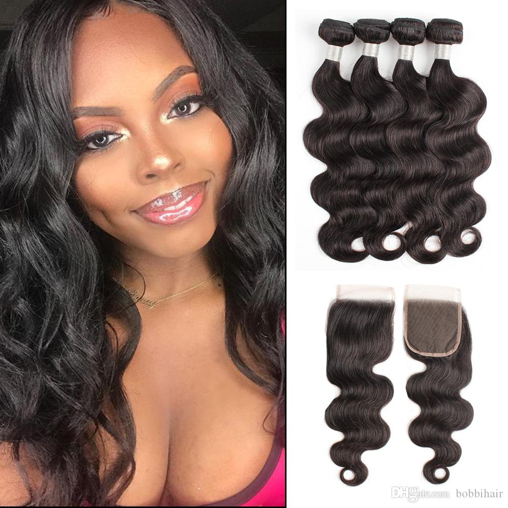 Brazilian Virgin Hair Bundles With Closures Body Wave Natural Color 4 Bundles with 4x4 Lace Closure 10-28 Inch Remy Human Hair Extension