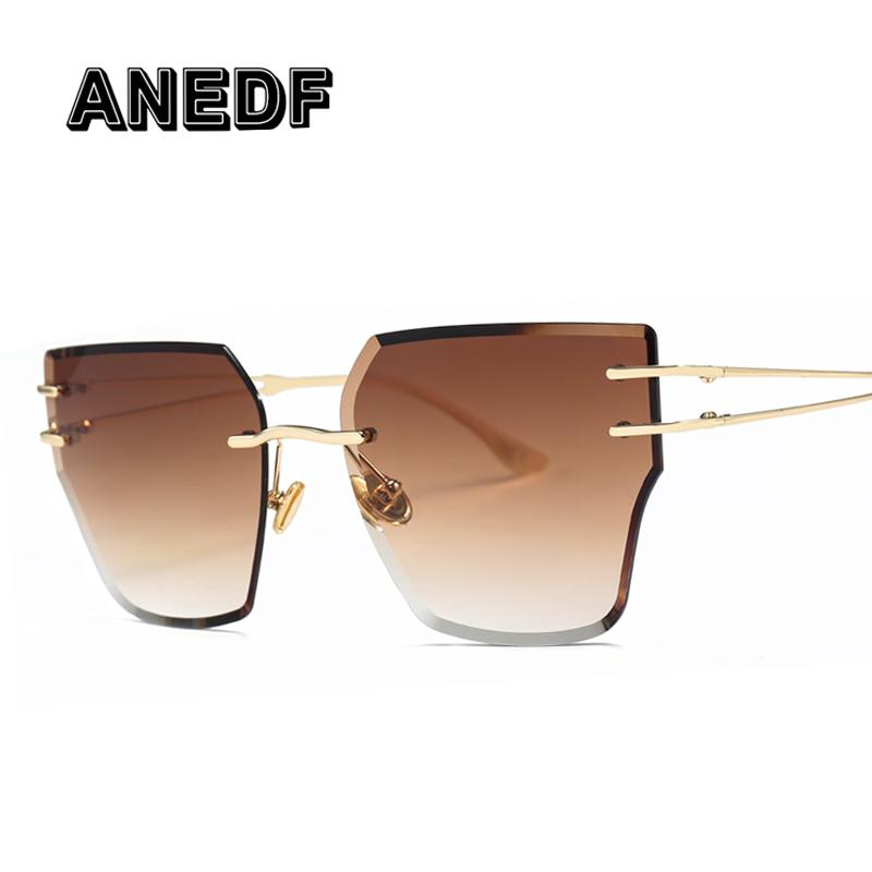 ANEDF Lunettes De Soleil Sans Monture Femmes Nouvelle Marque Vintage Coupe Lunettes De Soleil Hommes Femmes Fashion Shades UV400 Vintage Lunettes Oculos