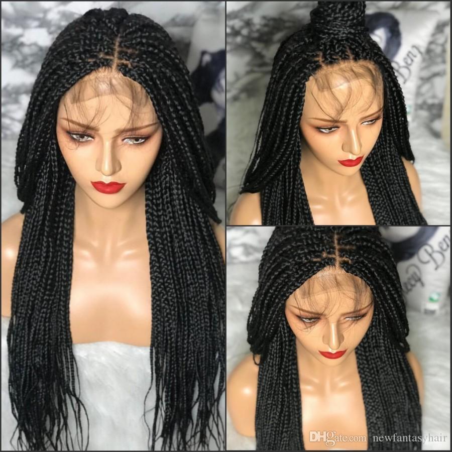 22inch Lange Geflochtene Box Zöpfe Perücke mit dem Babyhaar Natural Black Synthetic flicht Haar-Spitze-Front-Perücke für African Black Women