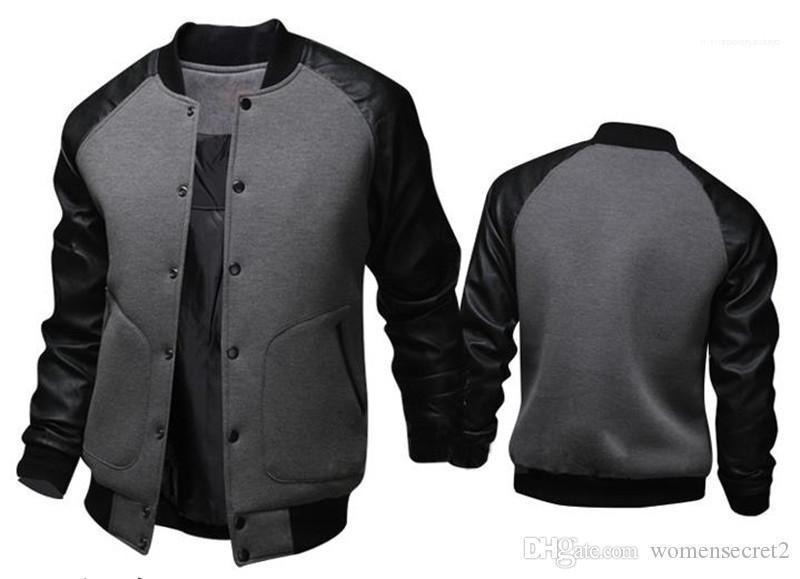 Deri Tek Breasted Erkek Dış Giyim Erkek ceketler Yaka Uzun Kollu Baseballl Erkek Palto Spor panelli Standı