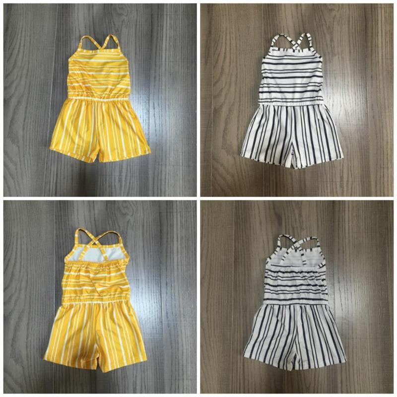 girls clothes milk silk halter stripe mustard gray ruffle Summer lace cotton baby kids One-piece garment suit jumpsuit clothes