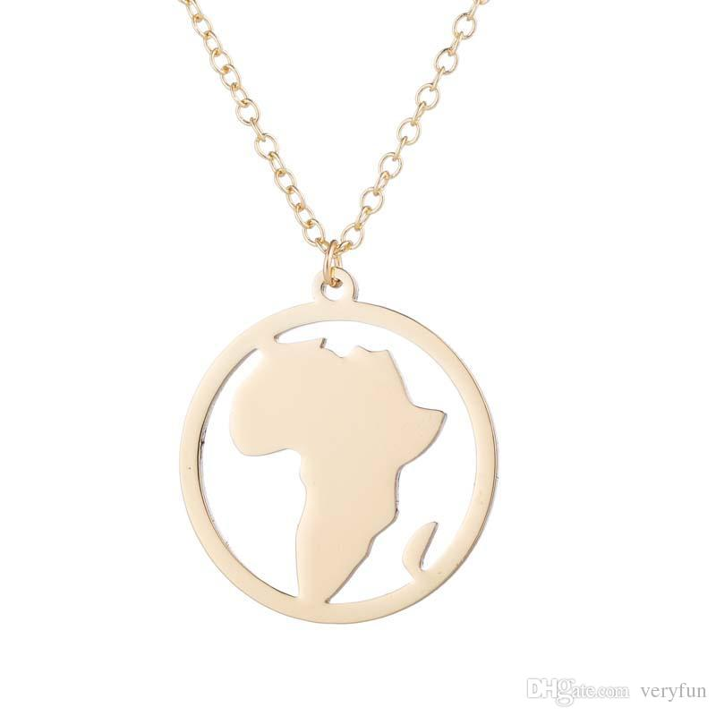 """Stainless Steel Pendant Brass Chain Necklace Charm Women Choker Jewelry Collier Contracted circle African landscape Necklaces NYX-16"""