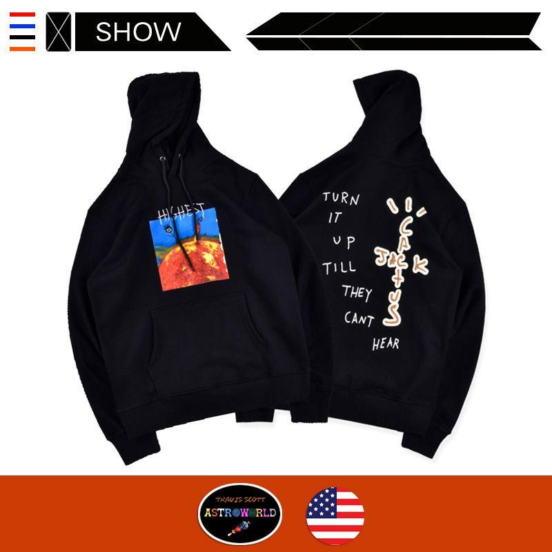 Oferta limitada diseñador Travis Scott suéter encapuchado HITR Sun capucha de impresión llama jerséis con capucha para sudaderas de la calle los hombres y mujeres de marea