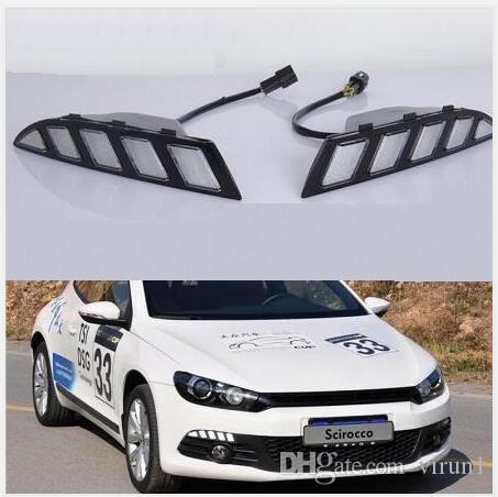 Para 2011 2012 2013 2014 2015 estilo de la señal de vuelta amarillo Volkswagen Scirocco relé impermeable 12V del coche LED DRL Luz