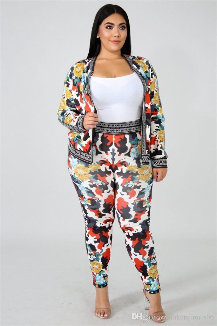 Tasarımcı 2adet Seti Uzun Pantolon Sport Stil Bayan Giyim Moda Fermuar Casual Giyim yazdır Çiçek Kadınlar
