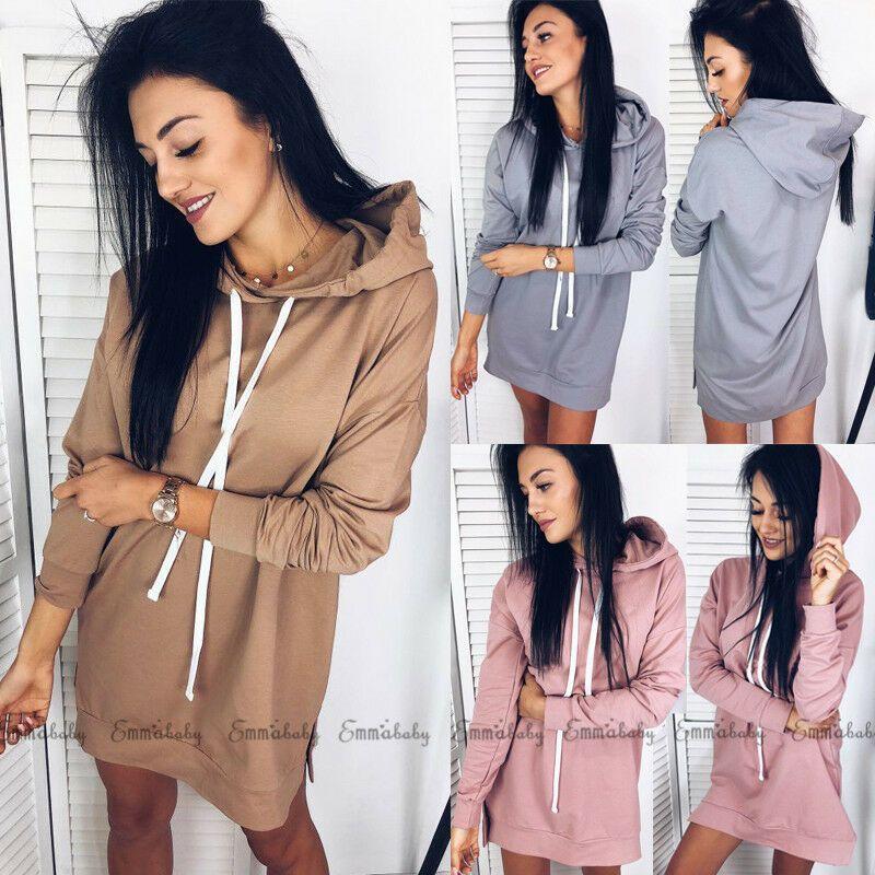 2020 Nova Mulheres Outono de manga comprida Sólidos Casual Desportivo Color Fashion moletom com capuz longo Hoodies