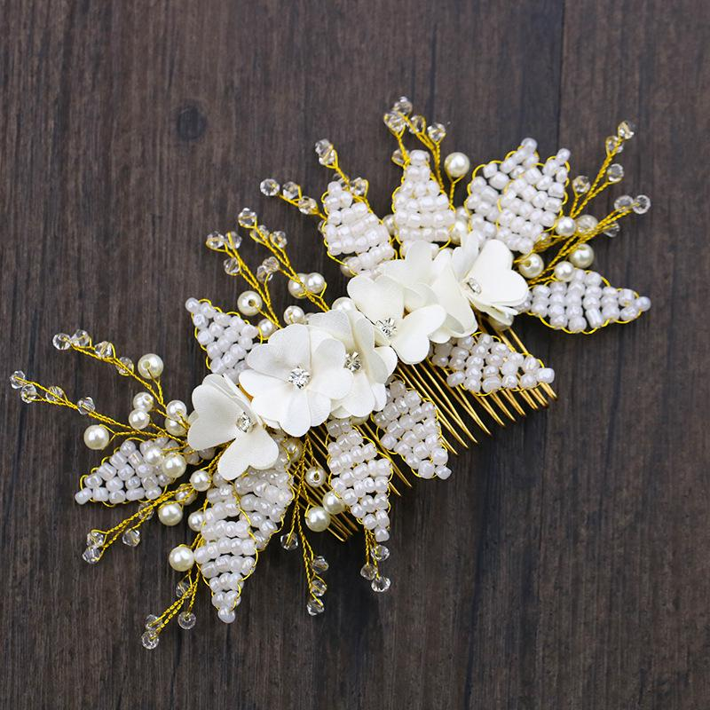 Fashion Gold Floral Pearls Wedding Hair Comb Beads Bridesmaid Hair Vine Bridal Head Piece For Women Accessories Jewelry