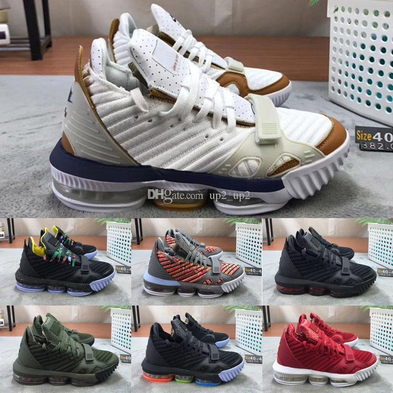 2020 Arrivée LeBron XVI 16 Blanc Noir Or BHM Outdoor Hommes Basketball Chaussures Top qualité athlétique 16s loup gris chaussures de sport de marque de sport