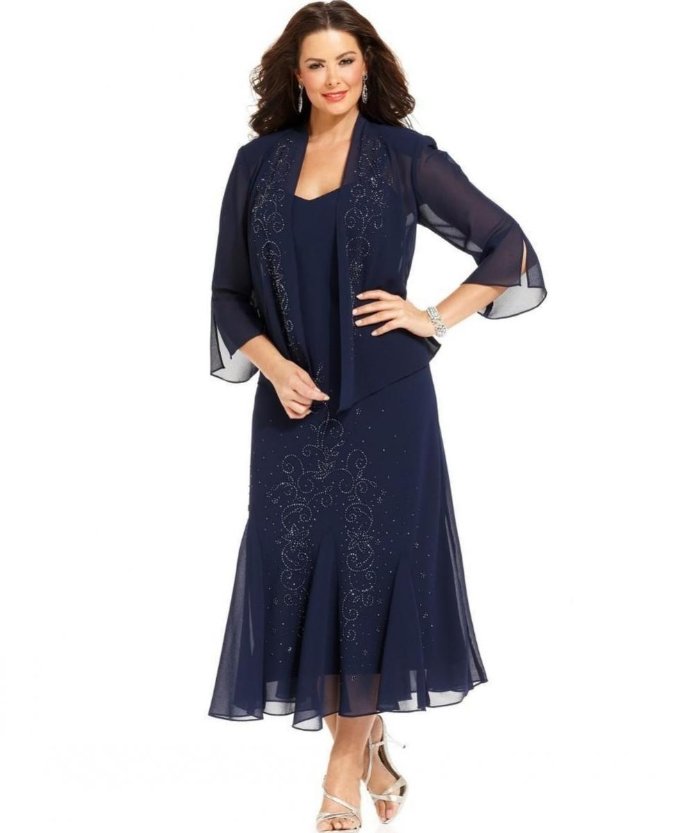 Marinha Sexy chiffon azul Mãe Duração Chá do vestido de noiva com Jacket 3/4 mangas Partido Mãe Vestidos Mãe Wear PD5117 Formal
