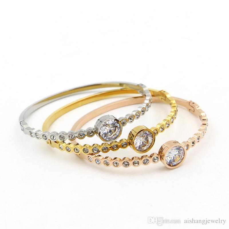 Moda Key4fashion PB17 2018 novas mulheres da moda jóias pulseira com um único ziron grande ziron pulseira rodada de ouro 18K pulseira para presente