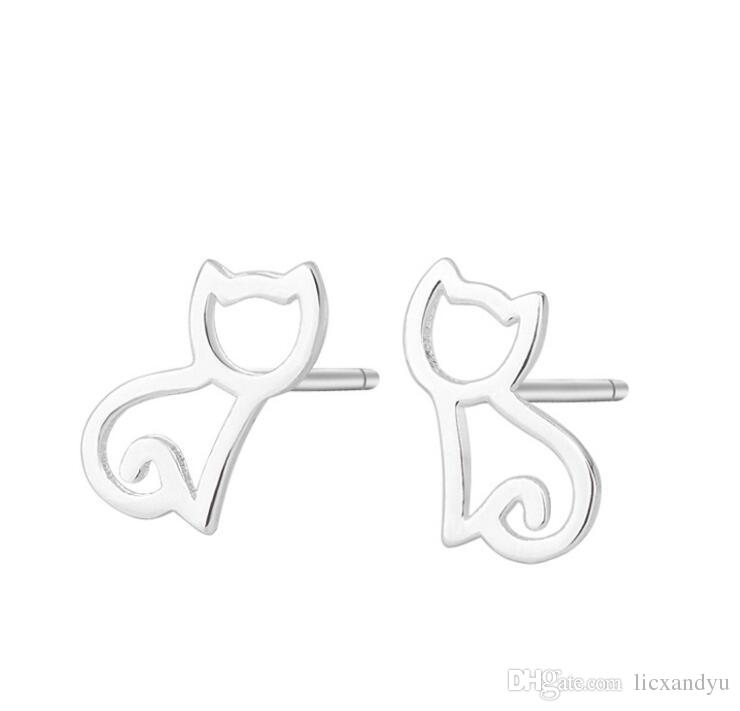 High Quality 925 sterling Silver Plated earring female cartoon sweet lovely ear nail custom act the role ofing is tasted