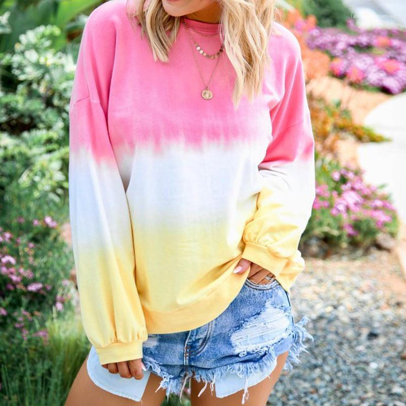 Sonbahar Moda Plus Size Kadın Kazaklar Gevşek Kadın Kapüşonlular Gökkuşağı Gradient Renk Ç Yaka Uzun Kollu Bayan Tişörtü