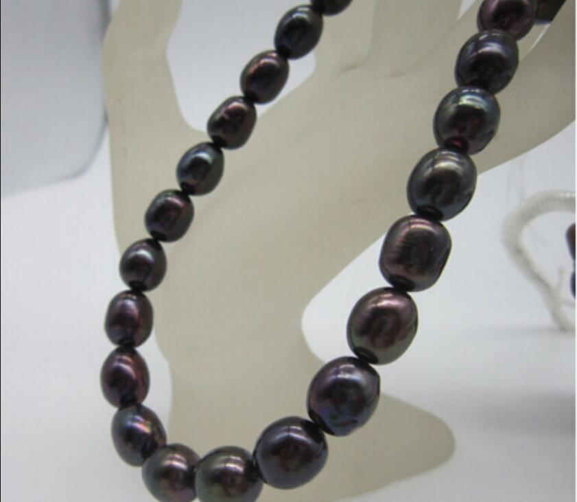 necklace Free shipping ++++812 18'' 11-13 MM SOUTH SEA GENUINE BLACK BAROQUE PEARL NECKLACE