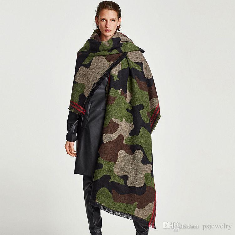 Estilo Cashmere Exército Xaile Scarf Camouflage Impresso Xaile Thicken das mulheres novas de inverno Grande macio Cozy Scarf Cabo Silencioso Feminino Stoles