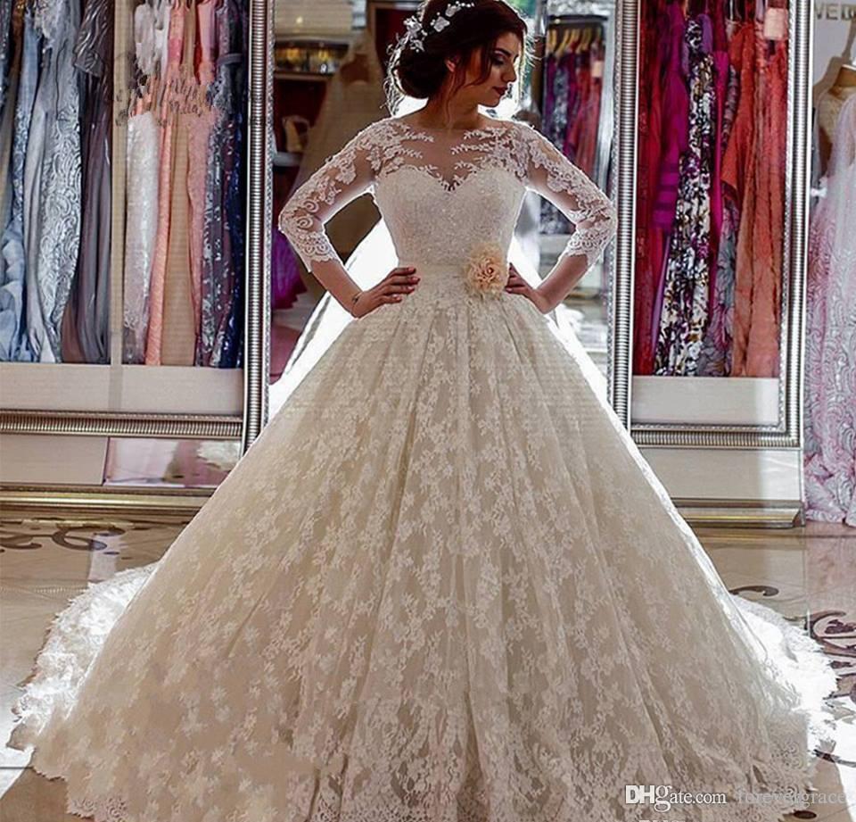 Long Sleeves Lace Puffy Wedding Dress Arabic Dubai Church Bridal Gowns Plus Size