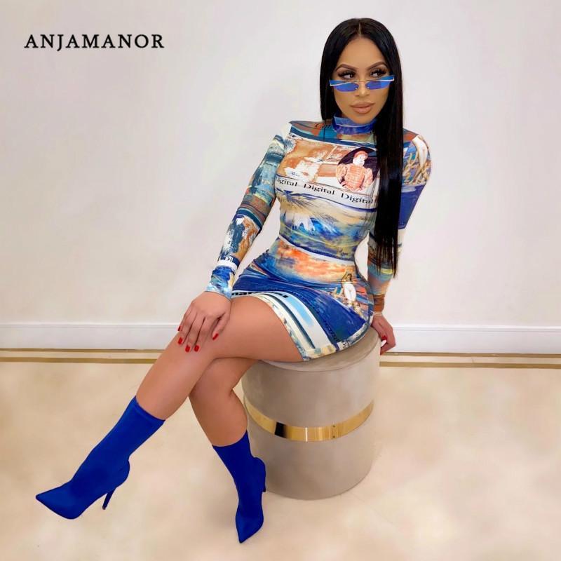 Vintage renacimiento ANJAMANOR Imprimir manga larga vestido bodycon mujeres atractivas de la ropa 2020 D30-AA24 invierno vendaje del club del mini vestidos T200403