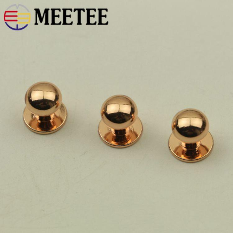 Meetee Screw Studs Metal Buckles Bag Nails Rivet Round Head Rosered Wallet Belt Fastener Clasp DIY Leather Craft Bag Accessories H3-2