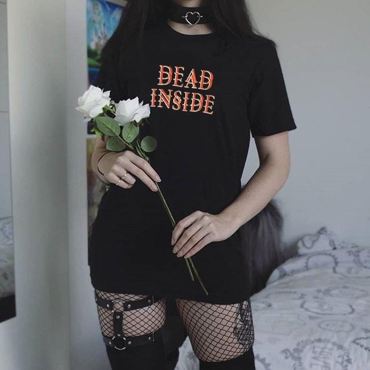 kuakuayu HJN Mulheres Dead Inside T-Shirt Hipster Preto Estilo Grunge Tee Gothic Vestuário CX200618